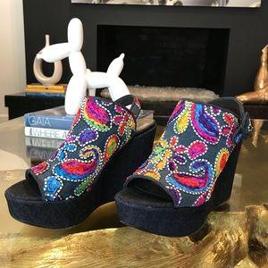 Stuart Weitzman funky denim wedge shoes